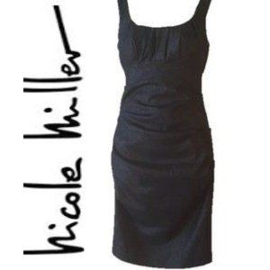 Nicole Miller Black Sparkle Ruched Cocktail Dress
